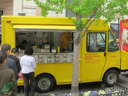 yellow vendor truck