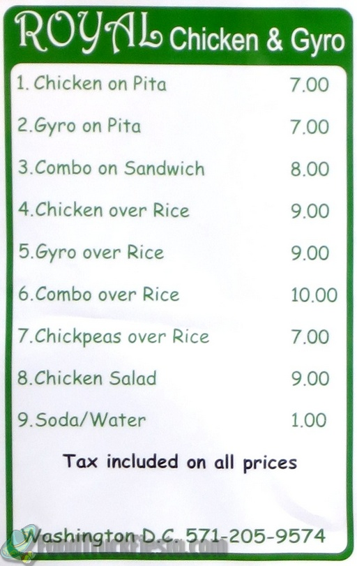 royal chicken and gyro menu