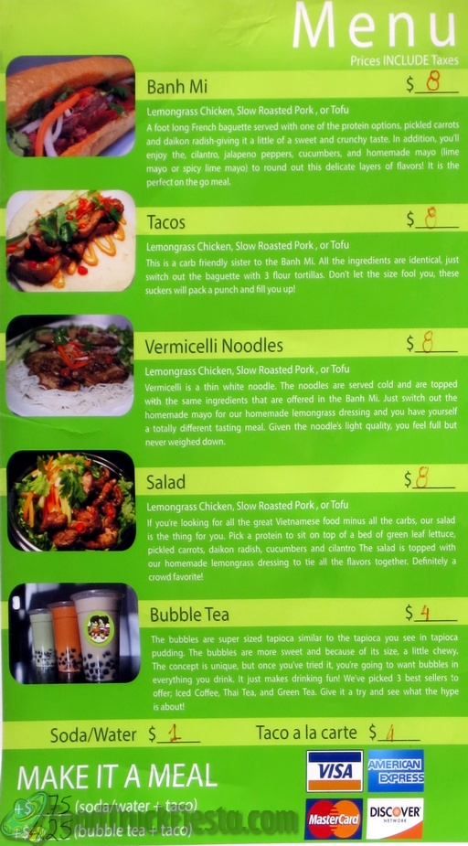 Banh Mi In La Food Truck Menu