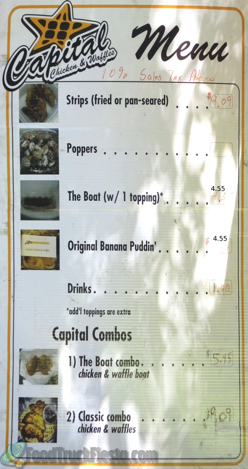 Capital Chicken & Waffles DC Food Truck Menu