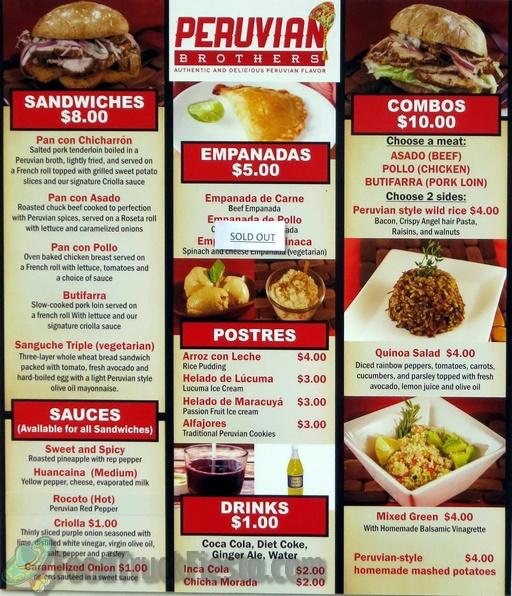 peruvian bros menu