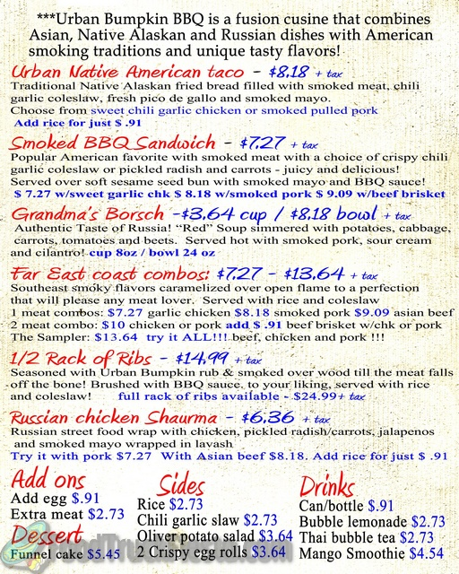 Urban Bumpkin BBQ Food Truck Menu!